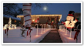 A festively decorated house on Candy Cane Lane.