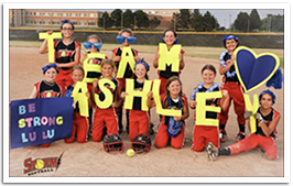 Muskego Storm Softball Team showing support for Ashley
