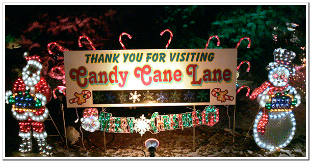 Lit Sign: Thank You For Visiting Candy Cane Lane